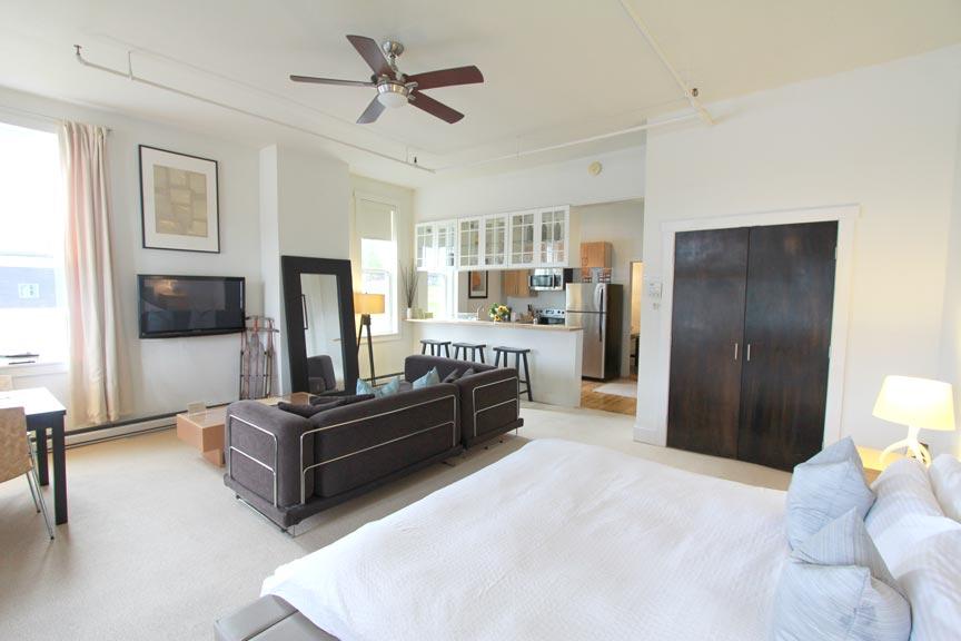 View through living area